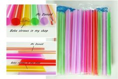 "6.5"" 50 pcs Boba Drinking Straws Party Smoothies Cocktail Milk Shakes Tea Bubble Jumbo Fat Giant: Amazon.com: Grocery & Gourmet Food"