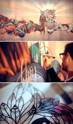 Supakitch and Koralie. So beautiful ! Acid Trip Art, Ap Studio Art, Stencil Art, Amazing Art, Awesome, Urban Art, Cool Artwork, Artist At Work, Traditional Art