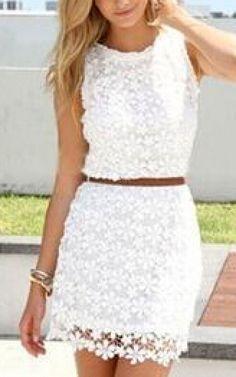 White Sleeveless Hollow Lace Bodycon Dress