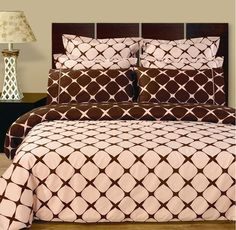 Modern Geometric Pattern Pink and Brown 100 percent Egyptian Cotton 8 piece Duvet Comforter Cover and Shams Set with Fitted Sheet. The bedding set is reversible to the opposite print for two look in one. Cotton Bedding Sets, Duvet Cover Sets, Comforter Sets, Comforter Cover, Brown Duvet Covers, Egyptian Cotton Duvet Cover, Euro Pillow Shams, Pillow Cases, Bed In A Bag