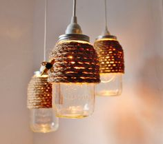 The Hive Mason Jar Pendant Lights Set Of 3 Hanging by BootsNGus