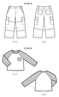 field trip cargo pants + raglan t-shirt sewing pattern