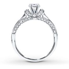 Diamond Ring Setting 3/4 ct tw Princess/Round 14K White Gold