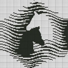Filet crochet wow Would make a gorgeous double knit - too large for scarf, maybe afghan ; Cross Stitch Horse, Cross Stitch Animals, Cross Stitch Charts, Cross Stitch Patterns, Filet Crochet, Crochet Chart, Crochet Afghans, Cross Stitching, Cross Stitch Embroidery