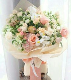 *Thank you for the flower dear. How To Wrap Flowers, Bunch Of Flowers, Pretty Flowers, Bouquet Wrap, Hand Bouquet, Beautiful Flower Arrangements, Floral Arrangements, Japanese Flowers, Floral Bouquets