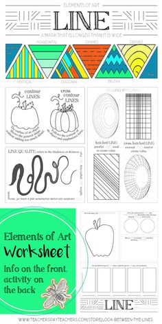 Line, Elements of Art Printable Worksheet: Elementary, Middle, High School Art This printable elements of art worksheet covers the element, line. It has examples on the front and activities for the students to complete on the back. High School Art, Middle School Art, Art History Lessons, Art Lessons, School Lessons, Elements Of Art Space, Arte Elemental, Art Doodle, Art Worksheets