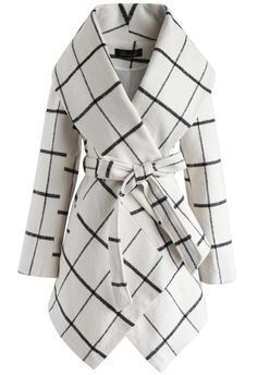 Prairie Grid Rabato Coat in Off-White- New Arrivals - Retro, Indie and Unique Fashion