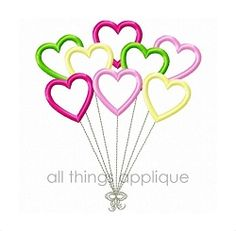 Heart Balloons Satin Stitch Applique - 4 Sizes! | What's New | Machine Embroidery Designs | SWAKembroidery.com