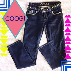 """Coogi Denim Embroidered Jeans Coogi Denim Jeans from """"COOGI Australia"""" Embroidered Detail. Inseam 31"""" waist measures 32. Come with a matching studded belt. Buck stitching and adored with studs. The size tag is 7/8.   INDIGO Blue Dark Wash with Multi Color Embroidery Style with back pockets embroidered.     Renowned lifestyle brand COOGI is Famous for its vibrant color palette and intricate textured knits. COOGI Jeans Straight Leg"""