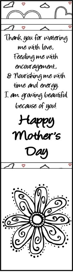 Black and White Mother's Day Bookmark. Perfect for coloring with original verse. Mom's will love it! FREEBIE!
