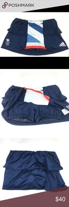 Adidas Skorts UK 8 Stella McCartney Team GB Athlete Issue Performance Stella McCartney Skorts from the London 2012 Olympics. These were issued to both Team GB Tennis and Hockey teams for the duration of the games. These quality adidas Skorts have ClimaCool , built in shorts with gripper. Made from 80% Polyester 20% Elastane  All measurements taken when lying flat. The best way to ensure a perfect match is to compare these measurements with your current favorite pair of Skorts!  MEASURMENT…