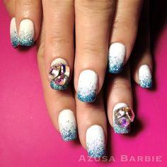 glitter ombre with blingbling♡ by Azusa Barbie- #nail #nails #nailart #gelnail #japanesenailart #nailartist #blingbling #blueglitter #ombre #glitter