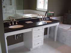 wheelchair accessible vanity.  The only thing I'd want to add are the sinks that sit further forward in the countertop