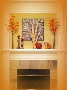 Mantel idea - I like this one except for the giant wheat thing in the middle. No thanks on that part.