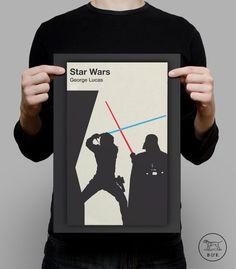 STAR WARS Poster Darth Vader Luke Skywalker by EncoreDesignStudios
