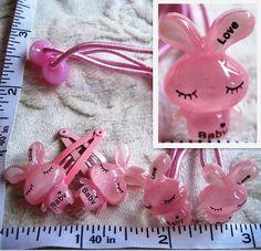 pink 2 rabbits elastic bands and 2 hair clips c   eBay