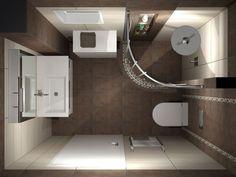 Κάτοψη του μπάνιου. Για την επένδυση του χώρου χρησιμοποιήθηκαν πλακάκια με διάσταση 25 x 50 cm σε συνδυασμό με ψηφίδα.