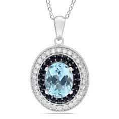 """Sterling Silver Blue Topaz, Sky Black Sapphire and Created White Sapphire Pendant Necklace, 18"""" Amazon Curated Collection. $65.00. Made in China. Black diamonds may have been treated to improve their appearance or durability and may require special care.. The natural properties and composition of mined gemstones define the unique beauty of each piece. The image may show slight differences to the actual stone in color and texture."""