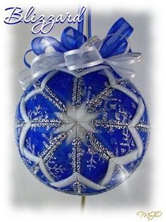 Blizzard Blue and Silver Snowflake Glitter Unique Handmade Keepsake Quilted Ornament on Etsy, $18.00