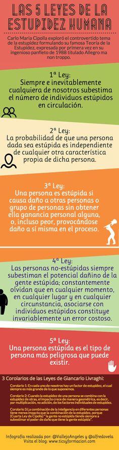 Las 5 leyes de la Estupidez Humana (Carlos María Cipolla) y 3 corolarios #infografia #citas #quotes