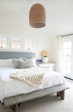 Bright bedroom with gray headboard and textured lantern. Come check out this gorgeous home tour! It's a beach house with east coast vibes. A white kitchen, black accents, and lots of texture Beach House Bedroom, Beach Room, Beach House Decor, Home Bedroom, Beach House Interiors, Costal Bedroom, Seaside Bedroom, Beach House Colors, Beach Bedrooms