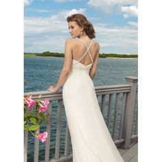 Chiffon Sweetheart Beaded Sexy Cross Shoulder Straps with Slim A line Informail Beach Wedding Dress WL-0073