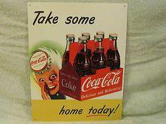 Vintage Coca Cola SixPack Sign Metal Soda Fountain Coke Bottle Cap Boy Bar Pub Vintage Coke, Vintage Signs, Coca Cola Ad, Food Advertising, Soda Fountain, Tin Signs, Bar, Murals, Pop Art