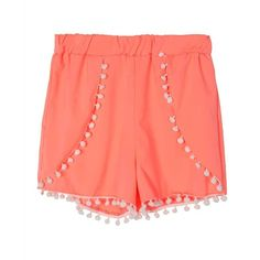 Choies Fluorescein Orange Elastic Waist Pom Pom Shorts ($14) ❤ liked on Polyvore