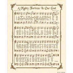 A MIGHTY FORTRESS Is Our GOD 8x10 Antique Hymn by VintageVerses