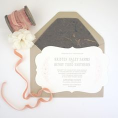 Rose and Earth Inspired Die Cut Letterpress Wedding Invitation honey-paper.com #santabarbarawedding #santaynezwedding