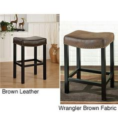 @Overstock.com - Tudor Nailhead Barstool - Add simple style to your home decor with this backless nail head barstool. The perfect solution for a bar or under-the-counter space, this space-saving barstool is available with a brown genuine leather or wrangler brown fabric cover.  http://www.overstock.com/Home-Garden/Tudor-Nailhead-Barstool/3977598/product.html?CID=214117 $125.71