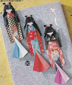 Washi Origami Paper Doll and Bookmark Japanese Craft Kimono Doll Handmade Japan…