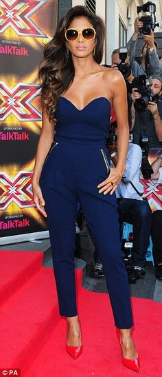 Nicole Scherzinger in a Three Floor navy jumpsuit & Kurt Geiger London 'Britton' bright-red pumps @ X Factor Press Launch