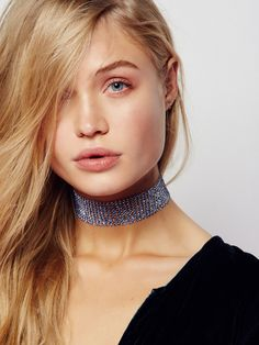 Rock Steady Choker | Ultra cool wide choker featuring tiny sparkling accents throughout. Adjustable lobster clasp closure.