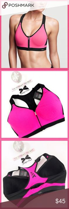 •Victoria's Secret• VSX front zip incredible bra V I C T O R I A 'S ✦ S E C R E T  VSX SPORT  Game-changer: your favorite maximum-support sport bra meets a zip-front for easy on and off, with a flexible underwire you can't feel & fully adjustable straps, all in stay-cool Body-Wick fabric.  ❈Condition: New with tags  •Breathable padding with wicking liner. •Bonded, seamless technology that eliminates irritation.  •Supersoft elastic band for comfort & movement •Locking zip-front with inside…