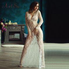 Women Adjust Waist Floor-Length Lace Dress Sexy See Through Hollow Out Maxi