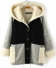 Black Contrast Grey Hooded Loose Wool Coat pictures