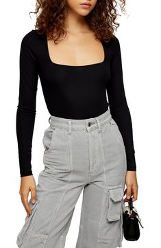 Women's Topshop Long Sleeve Square Neck Bodysuit, Size 0 US (fits like - Black Simple Cocktail Dress, Topshop, Shops, Square Neck Top, Body Suit Outfits, Long Sleeve Bodysuit, Black Bodysuit, Comfortable Outfits, Stylish Outfits