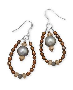 Pearl and Glass Bead Drop Earrings