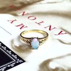 Vintage Opal Ring Australian Opal Antique 10k by MyAntoniaJewelry