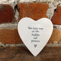Coaster: Porcelain Heart House Love Laughter Prosecco - East Of India - £7.00 - Antique Rose Boutique