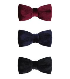 3 Pack Red Navy and Black Velvet Bow Hair Clips | New Look
