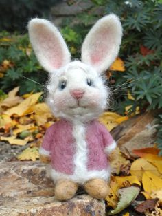 Needle Felted Rabbit  Blush by Lisa D. Hunt