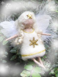 Needle Felted Wool  angel in white and gold   by LivelySheep