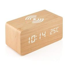 Wooden Alarm Clock with Qi Wireless Charging Pad Compatible with iPhone Samsung Wood LED Digital Clock Sound Control Function, Time Date, Temperature Display for Bedroom Office Home - Wood Led Alarm Clock, Travel Alarm Clock, Clock Sound, Smartphone, Wireless Charging Pad, Charging Cable, Samsung, Digital Thermometer, Wooden Clock