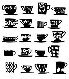 black & white tea cups and coffee mugs this would be cute on a tray with a sealant over it :) how fitting lol