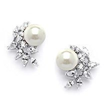 Mariell Cubic Zirconia Ivory Pearl Bridal Earrings - Crescent Shaped Mix of CZ Pears and Marquise