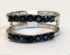 14k White Gold All Genuine Natural Blue Sapphire Solitaire Enhancer Ring Guard (1.12ct. tw)...(RG321437184488).! Price: $512.99 #gold #diamonds #ringguard #wrap #enhancer #fashion #jewelry #love #gift