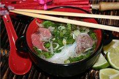 Phở is a traditional Vietnamese rice noodle soup consisting of herbs, broth and beef or chicken.