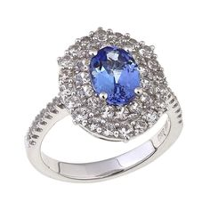 Rarities Fine Jewelry with Carol Brodie Rarities: Fine Jewelry with Carol Brodie 2.08ctw Tanzanite and White Zircon Sterling Silver Double Oval Fra...